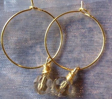 Gold Hoops with Dangling Topaz Swarovski Crystal