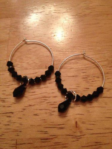 Sterling Silver & Swarovski Black Hoop Earrings