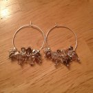 Swarovski Mixed Pink/Grey/Crystal Sterling Silver Hoop Earrings
