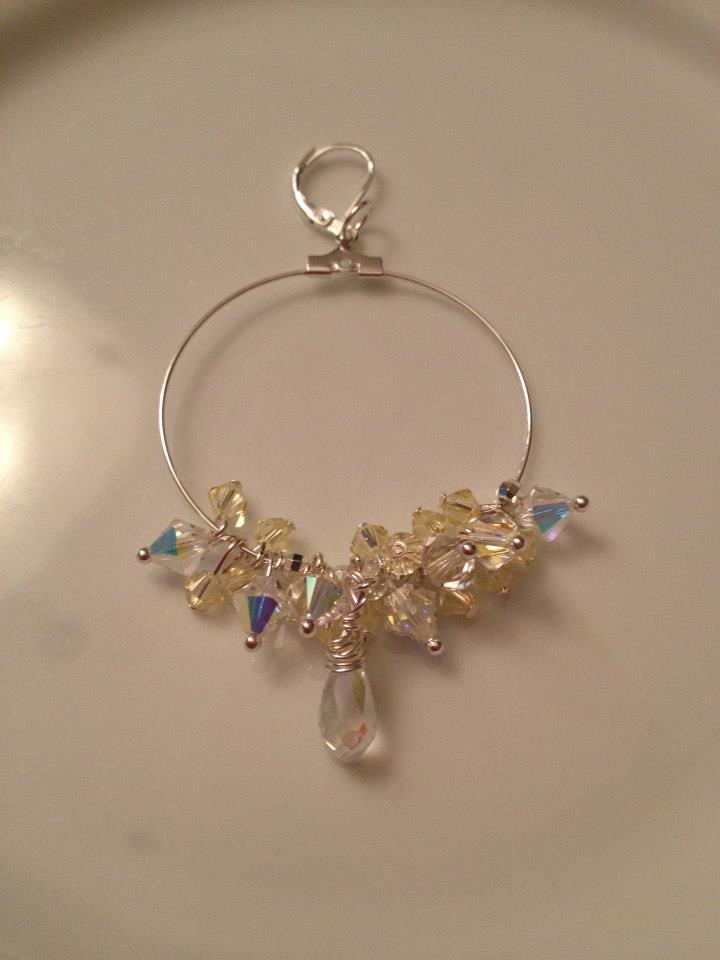 Swarovski Yellow & Crystal Sterling Silver Large Hoop Earrings
