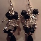 Swarovski Black and White Sterling Silver Bunch Earrings
