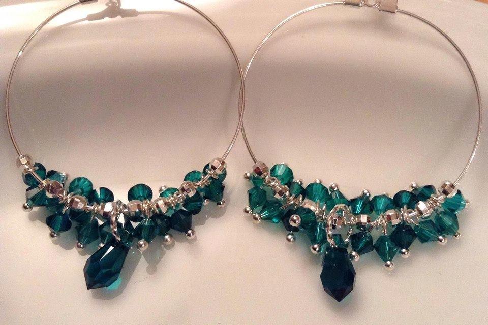 Swarovski Emerald Large Sterling Silver Hoop Earrings