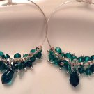 Swarovski Emerald Large Sterling Silver Hoop Earrings