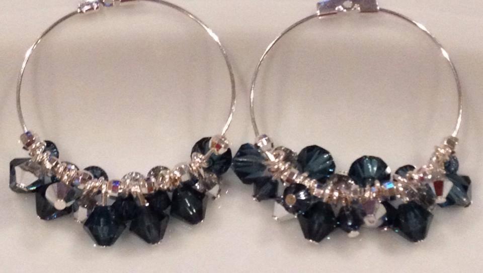 Sterling Silver and Montana Blue & Crystal Swarovski Hoop Earrings