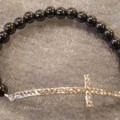 Silver Rhinestone Cross and Hematite Beaded Stretch Bracelet