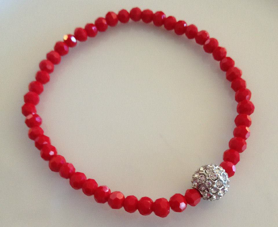 Red Rhinestone Ball Beaded Bracelet