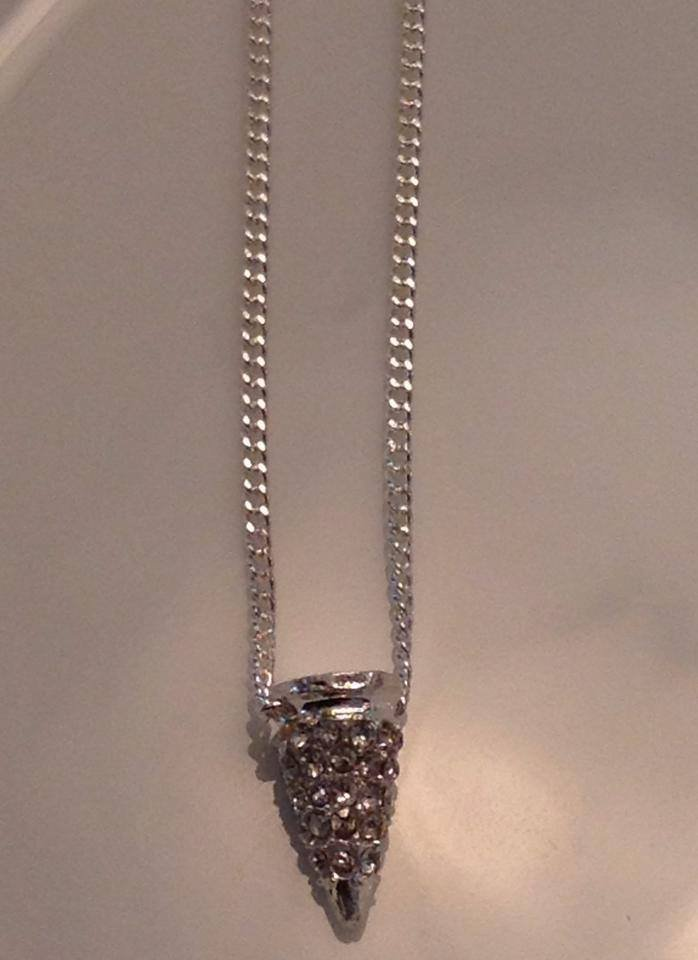 Silver Rhinestone Spike on Sterling Silver Chain