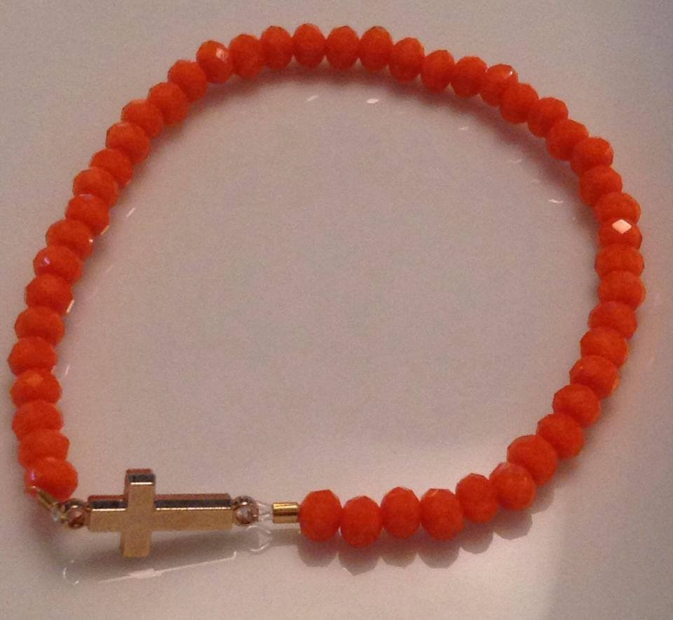 Orange Faceted Stretch Bracelet with Gold Cross