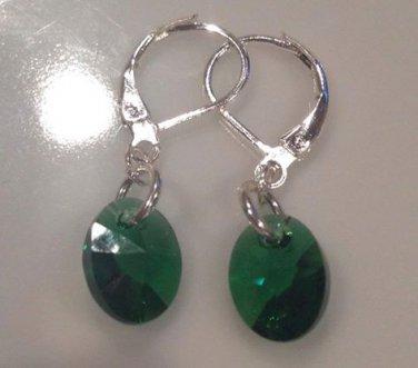 Emerald Green Swarovski & Sterling Silver Drop Earrings