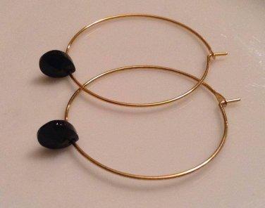 Gold Plated Hoop Earrings with Swarovski Black Teardrops