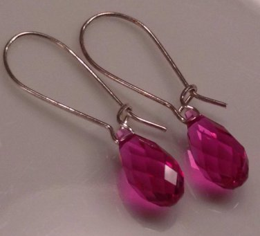 Simple Fuchsia Raindrop Earrings