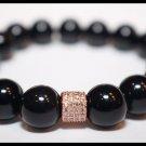 Black Onyx & Rose Gold Bling Bracelet