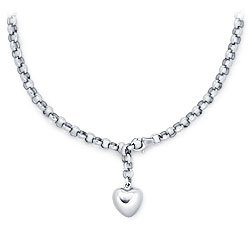 Platinum Adjustable Puffed Heart Lariat Necklace