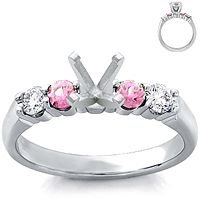 18k White Gold Diamond and Pink Sapphire Setting (1/5 ct. tw.)