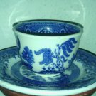 SHENANGO CHINA USA 43**RARE BLUE WILLOW TEACUP & SAUCER SET INTERPACE H-27
