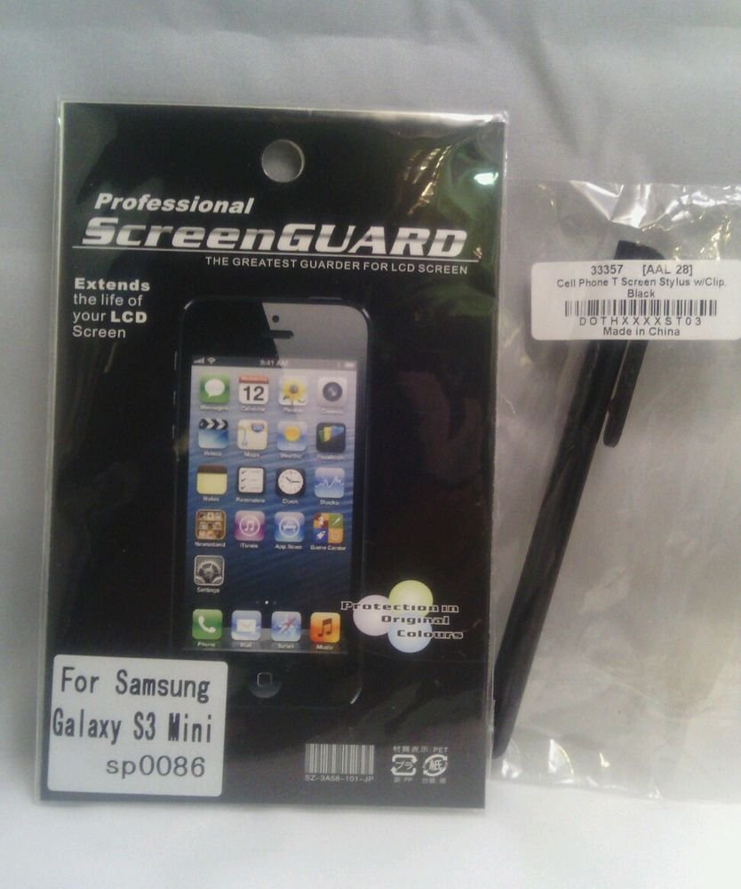 NEW**SCREEN PROTECTOR for SAMSUNG GALAXY S3 MINI SP0086**BLACK STYLUS BUNDLE