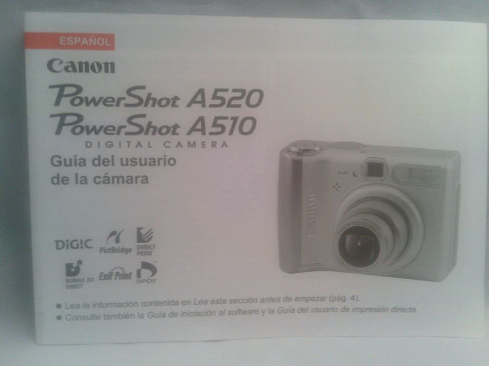 VGC**CANON POWERSHOT A520 DIGITAL CAMERA**GUIDE**SPANISH