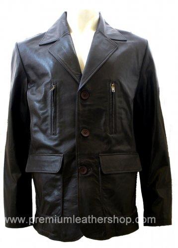 Men's 3 Button Leather Blazer Jacket Style M26 Size Medium Color Black