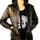 Women's Removable Hooded Leather Jacket Style 9F Size XL