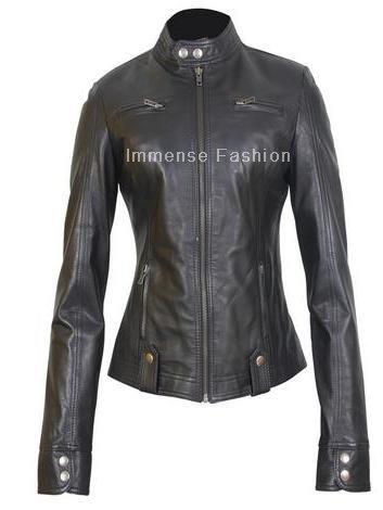 NWT Women's Peplum Biker Leather Jacket Style FS-32