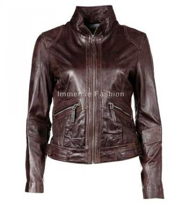 NWT Women's High Neck Leather Jacket Style FS-40