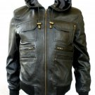 NWT Men's Hooded Bomber Leather Jacket Style M1