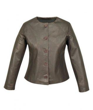NWT Women's 5 button crew neck leather jacket Style FS-54