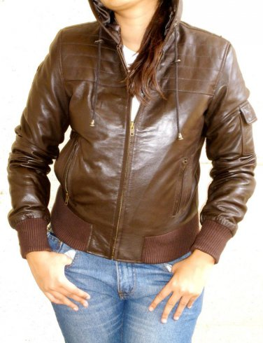 """Women's Hooded Leather Jacket style 14F Size """"Large"""" Color Brown"""