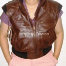 "NWT Women's Sleeveless Hooded Leather Jacket Style 42F Size ""L"""