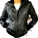 Women's Bomber Leather Jacket Style 4FP Size Small color Black