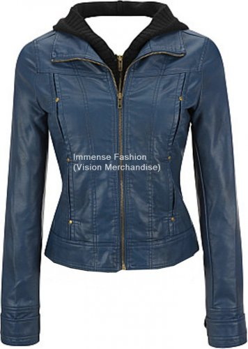 NWT Women's High Neck Hooded Leather Jacket Style FS-148 Made to Measure