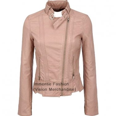 NWT Women's Biker Leather Jacket Style FS-46 Made to Measure