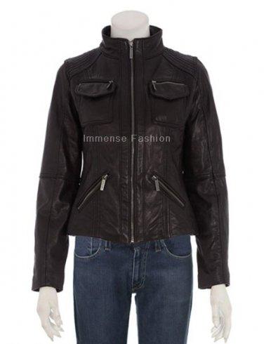 NWT Women's Bomber Leather Jacket Style FS-38