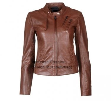 Women's Biker Leather Jacket Style FS-48
