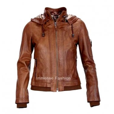 Women's High Neck Remove able Hooded Bomber Leather Jacket Style FS-62