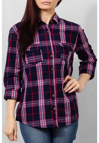 Women's The Warehouse Navy Blue & Pink Cotton Checkered Casual Shirt