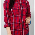 Women's The Warehouse Red & Blue Cotton Checkered Casual Shirt with Two Front Pockets
