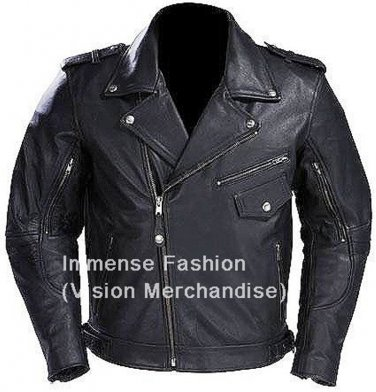 NWT Men's Motor Cycle Leather Jacket Style MD-80