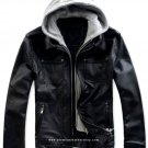 NWT Men's Remove able Fleece Hood Leather Jacket Style M63