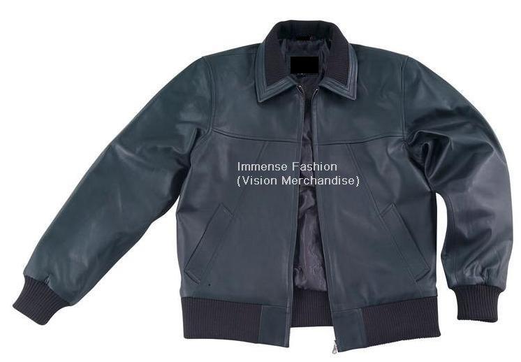NWT Men's Rib Trim Collar Leather Jacket Style MD-146