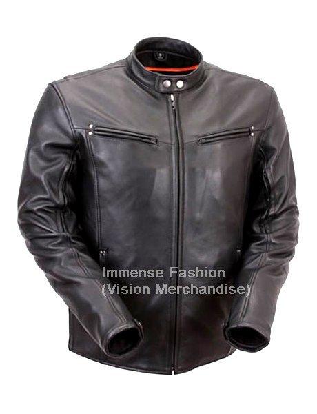 Men's Retro Biker Leather Jacket Style MD-50