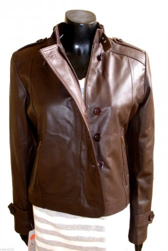 NWT Women's Buttoned Biker Leather Jacket Style 92F
