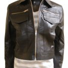 Women's Cropped Denim Inspired Leather Jacket Style 5F