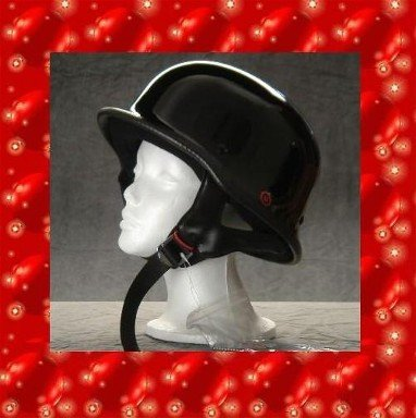 HCI DOT GERMAN MOTORCYCLE HELMET SMALL GLOSSY BLACK NEW