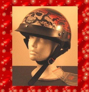 HCI LIGHTEST DOT MOTORCYCLE HELMET RED TRIBAL SKULL : LARGE NEW