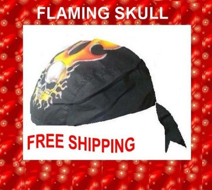 Danna Head Wrap Amazing Danna FLAMING SKULL NEW $3.95 FREE SHIPPING