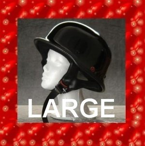 HCI DOT GERMAN MOTORCYCLE HELMET LARGE GLOSSY BLACK NEW