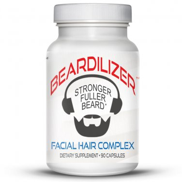 Beardilizer - #1 Facial Hair and Beard Growth Complex for Men - 90 Capsules Powerful Nutrients Blend