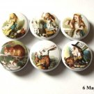 "Alice in Wonderland Matter Hatter 1"" Magnets Set of 6"