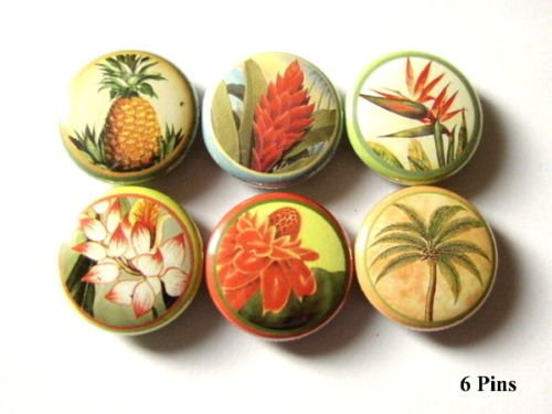 "Cute Retro Flowers of Hawaii 1"" Pins Badges Set of 6"